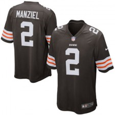 Men's Cleveland Browns Historic Logo Johnny Manziel Nike Brown Game Jersey-