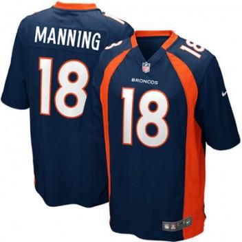 Jugend Denver Broncos Peyton Manning Nike Navy Blau Alternate Spiel Günstig Trikot