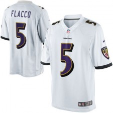 Mens Baltimore Ravens Joe Flacco Nike White with all White Collar Limited Jersey
