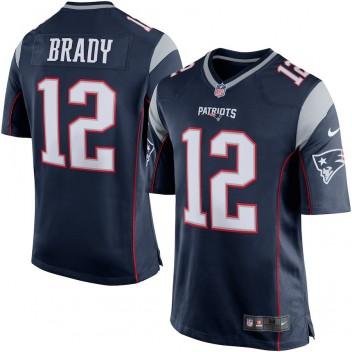 Herren New England Patriots Tom Brady Nike Navy Blau/Silver Spiel Günstig Trikot