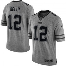 Men's Buffalo Bills Jim Kelly Nike Gray Gridiron Gray Limited Jersey