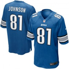 Mens Detroit Lions Calvin Johnson Nike Light Blue Game Jersey