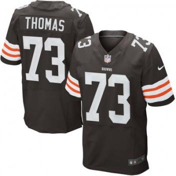 Herren Cleveland Browns Historic Logo Joe Thomas Nike Brown Elite Günstig Trikot