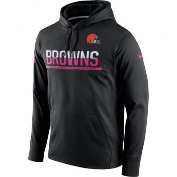 Herren Cleveland Browns Nike Brust Krebs Bewusstsein Schaltung Leistung schwarzen Pullover Hoodie