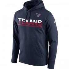 Herren Houston Texans Nike Marine Seitenlinie Schaltung Pullover Leistung Hoodie