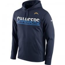 Männer San Diego Chargers Nike Marine Seitenlinie Schaltung Pullover Leistung Hoodie