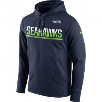 Herren Seattle Seahawks Nike College Navy Seitenlinie Schaltung Pullover Leistung Hoodie
