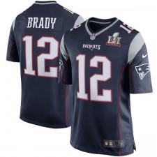 Männer New England Patriots Tom Brady Nike Marine Superschüssel LI gebundenen Spiel Trikot