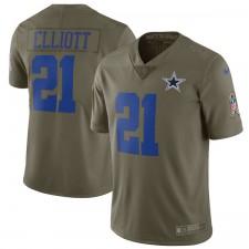 Herren Dallas Cowboys Ezekiel Elliott Nike Olive Salute to Service Beschränkt Trikot