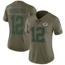 Frauen Green Bay Packers Aaron Rodgers Nike Olive Salute to Service Begrenzt Trikot