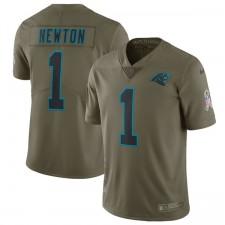 Männer Carolina Panthers Cam Newton Nike Olive Salute to Service Begrenzt Trikot