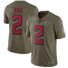 Herren Atlanta Falcons Matt Ryan Nike Olive Salute to Service Begrenzt Trikot