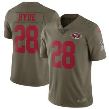 Herren San Francisco 49ers Carlos Hyde Nike Olive Salute to Service Begrenzt Trikot