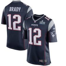 Herren New England Patriots Tom Brady Nike Navy Super Bowl LIII Gebunden Spiel Trikot