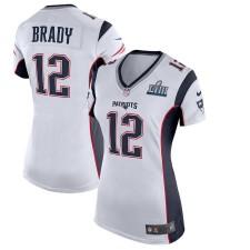 Frauen New England Patriots Tom Brady Nike Weiß Super Bowl LIII Gebunden Spiel Trikot