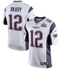 Herren New England Patriots Tom Brady Nike Weiß Super Bowl LIII Gebunden Spiel Trikot