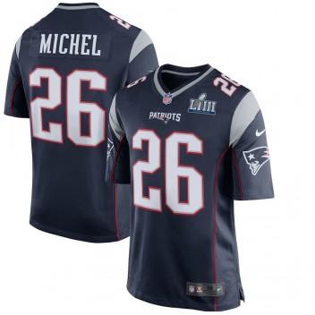 Herren New England Patriots Sony Michel Nike Navy Super Bowl LIII Gebunden Spiel Trikot